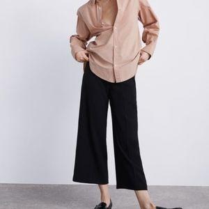 Zara | Black Wide Leg Pants Tie Waist Belt size XS